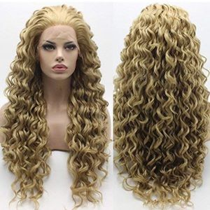 "💕24""  ASH BLONDE KINKY CURLY MIX LACE FRONT WIG"
